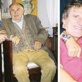 Pio Trebbi insieme a Tonino Guerra e a destra con il maestro Adriano Celentano
