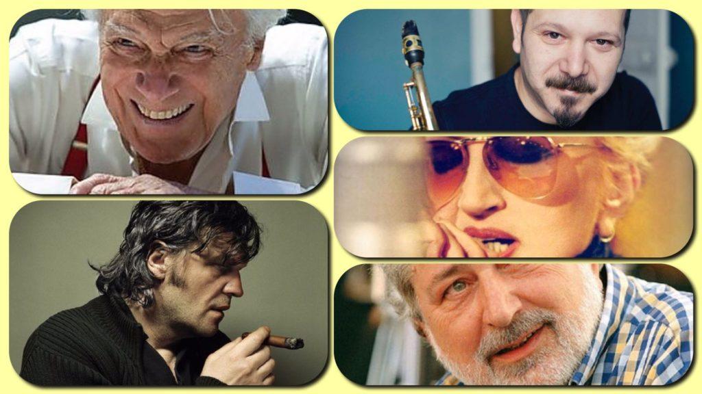 collage fotografico con Giorgio Albertazzi, Emir Kusturica, Stefano Di Battista, Mina e Francesco Guccini